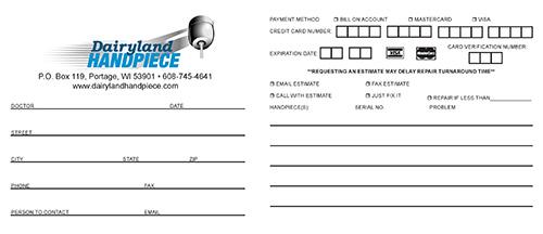 Dairyland Handpiece - Order Form